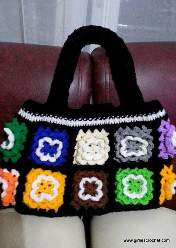granny square bag, pouch