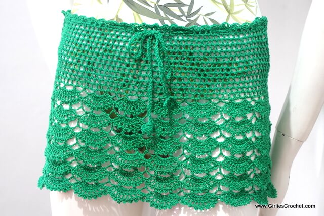 gina summer skirt, free crochet pattern, thread, easy, beginners pattern, green