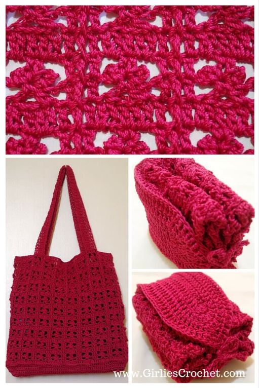 red summer bag, free crochet pattern, thread, easy, foldable bag, beach bag