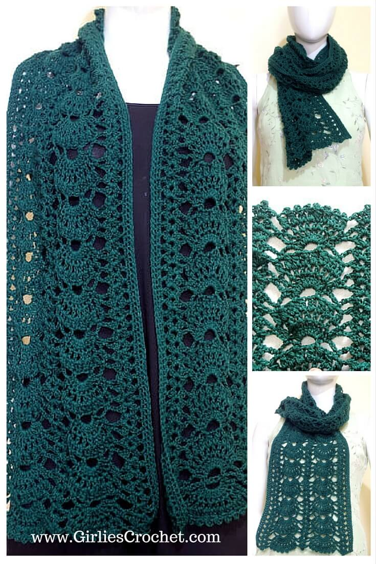grace green scarf, free crochet pattern, easy, lacy, photo tutorial