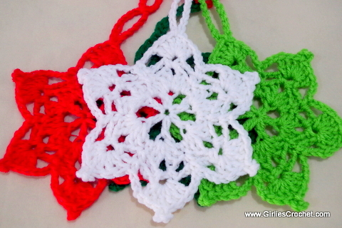 Free Crochet Pattern: 6 Point Star , Christmas Ornament with  photo tutorial in each step.