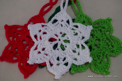 6 point star, Christmas Ornament, free crochet pattern, yarn