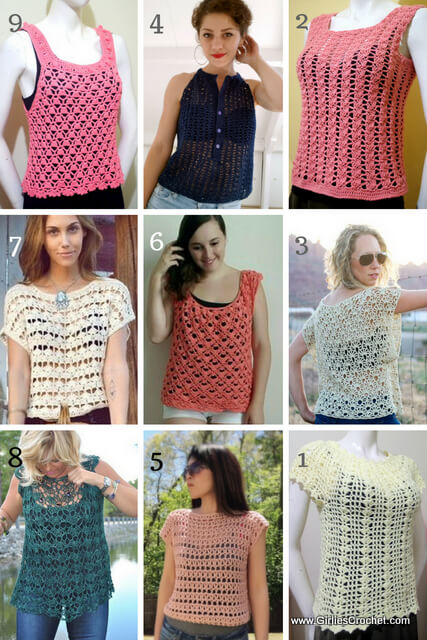 Free crochet pattern: 9 Crochet Summer Tops