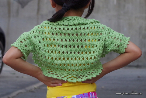 aida shrug, kid's crochet shrug