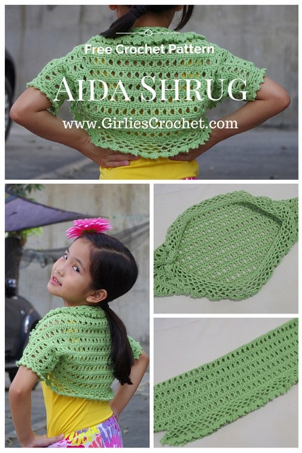 aida shrug, kid's crochet shrug, free crochet pattern for kid, easy crochet pattern