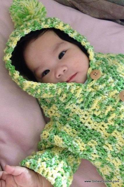 free crochet baby hooded sweater