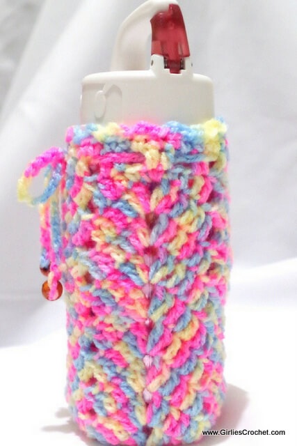 free crochet pattern, Chevron Bottle Holder