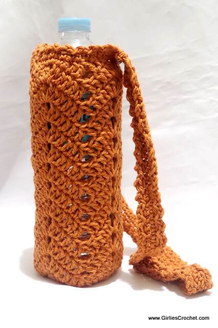 Free crochet pattern - Chevron Bottle Holder with handle