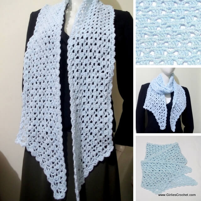 free crochet pattern, claire pointed scarf