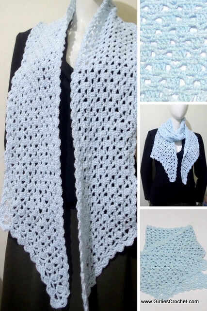 claire pointed scarf, free crochet pattern