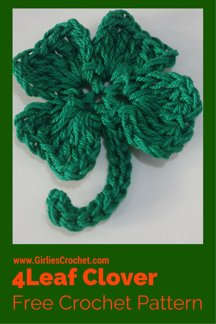 free crochet pattern, easy, crochet 4 leaf clover, green, st patrick's day