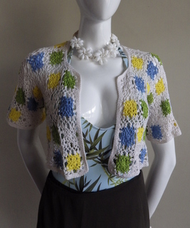 thread crochet bolero using granny square
