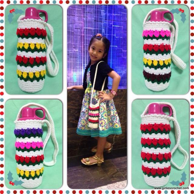 free crochet pattern, easy, crochet for beginners, flower stitch, bottle cozy
