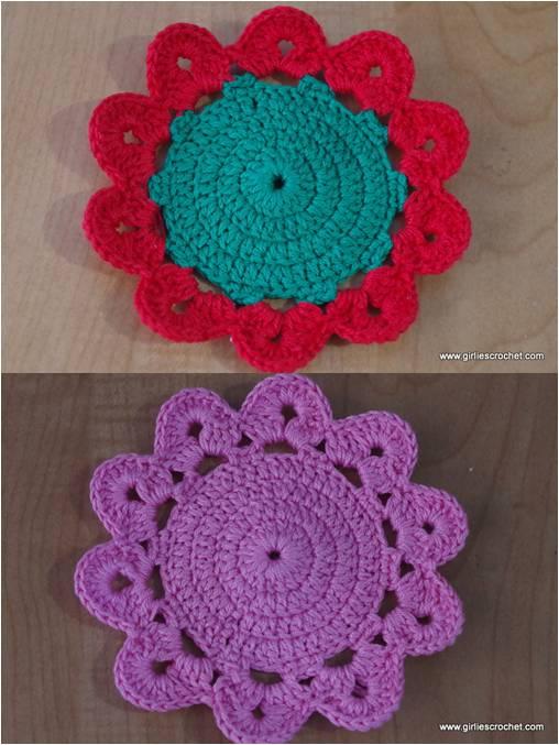 free crochet pattern, flower coaster, thread, easy, photo tutorial