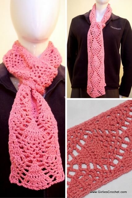 diana crochet scarf, free crochet pattern, easy, G hook, worsted cotton