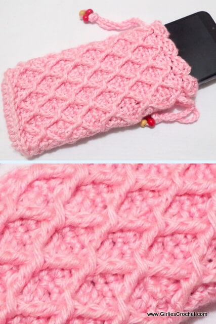 Free crochet pattern: Diamond Trellis Cellphone Pouch