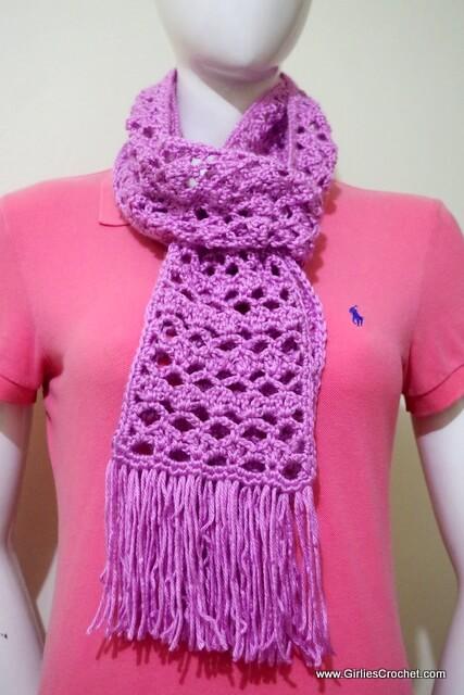 free crochet pattern: easy lacy scarf