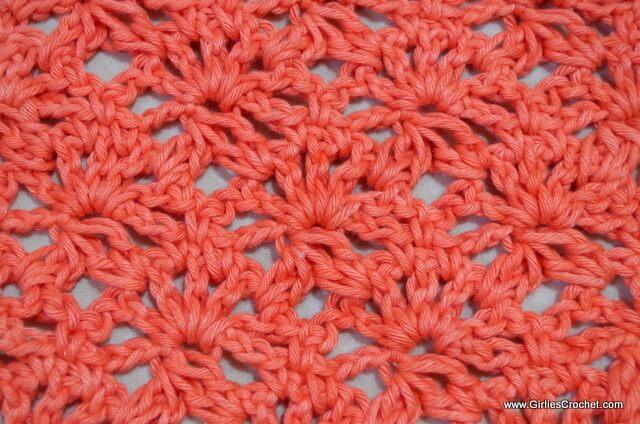 free crochet stitch tutorial, easy, fan, cluster