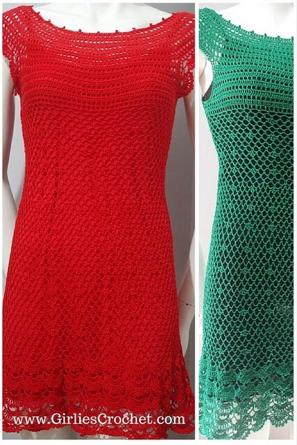 gina dress, free crochet pattern, easy, crochet for beginners, red dress, thread crochet, easy