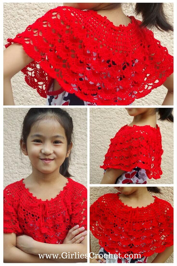free crochet pattern, gina spring poncho, summer skirt, thread, fan stitch, red