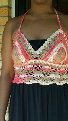 I used #4 cotton. Size small  will fit AAA to C cup