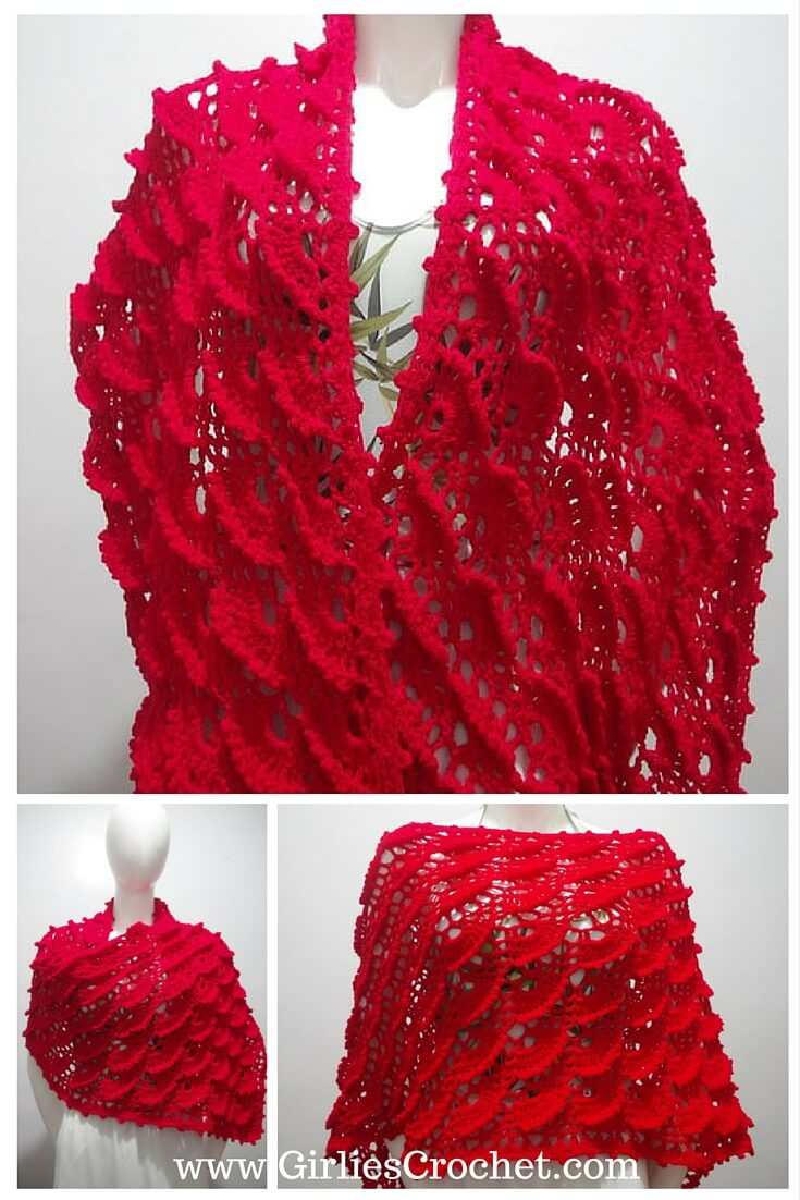 free crochet pattern, wrap, shawl, easy, beginners, fan stitch