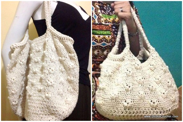 gloria bag, popcorn stitch, free crochet pattern