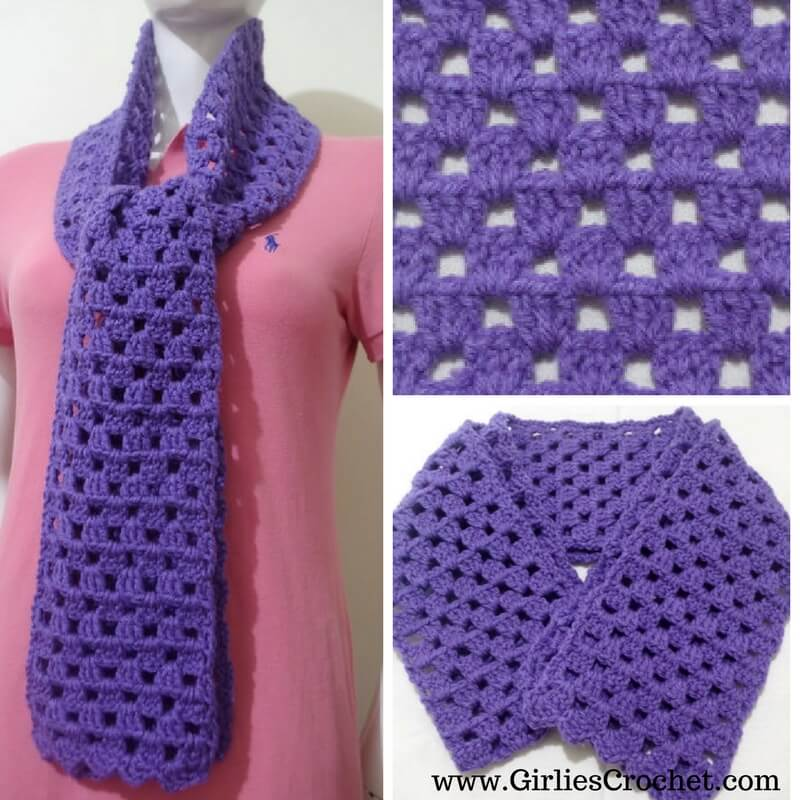 free crochet pattern,Granny Easy Scarf, photo tutorial in each step,
