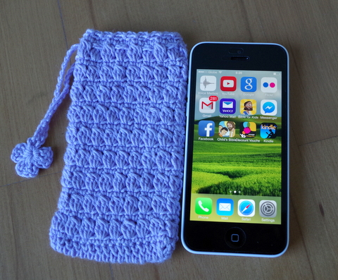 iPhone 5c crochet case, free crochet pattern, cluster stitch, thread crochet