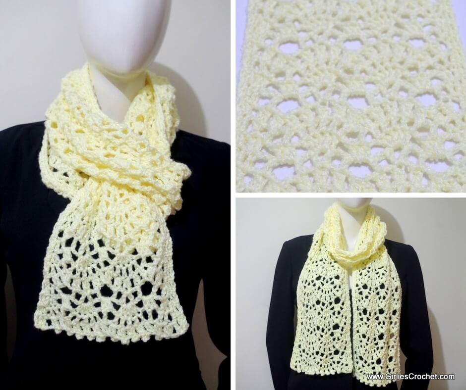 free crochet pattern , jean crochet scarf