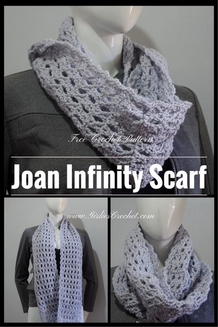 Joan infinity scarf, free crochet pattern, easy pattern for beginners, infinity scarf, treble cross stitch project, red heart