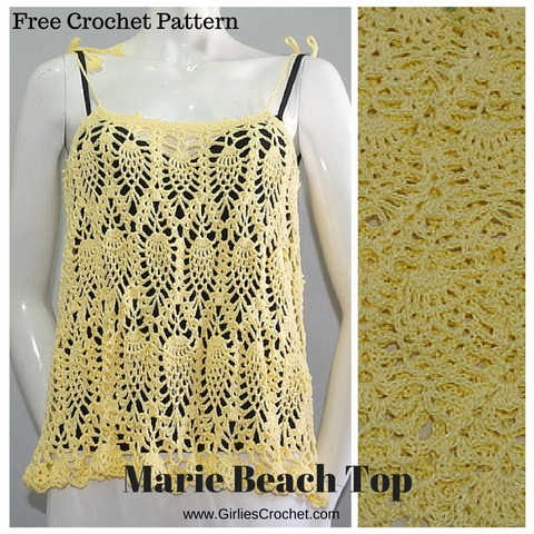 free crochet pattern, marie beach top, pineapple design