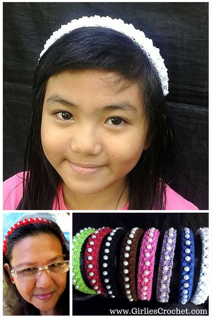pearly pop 94 headband, free crochet pattern, easy, thread, hair accessory