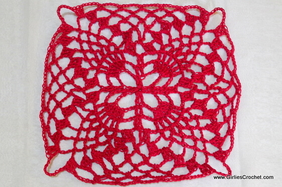 free crochet pattern, pineapple crochet square motif, easy, thread, photo tutorial