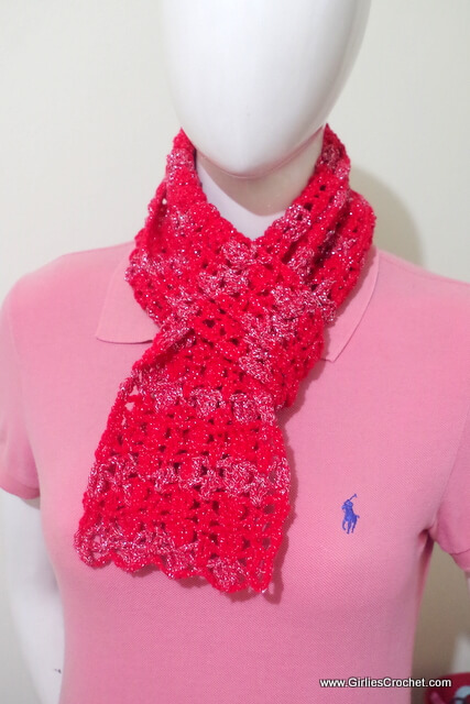 free crochet pattern, red glam scarf