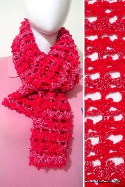 free crochet red glam scarf pattern