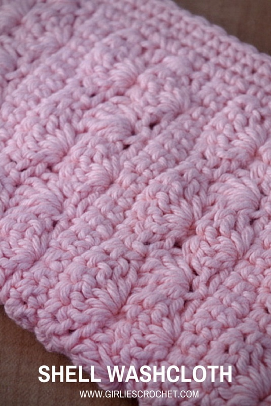 free crochet pattern, shell washcloth, shell st, easy, photo tutorial