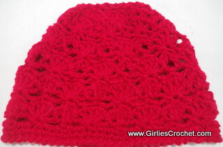 free crochet pattern, fan stitch, cluster stitch, photo tutorial, red heart super saver