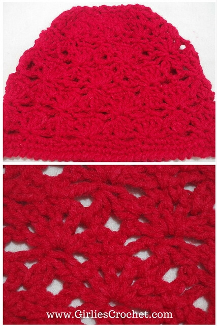 free crochet pattern, beanie, fan stitch, cluster