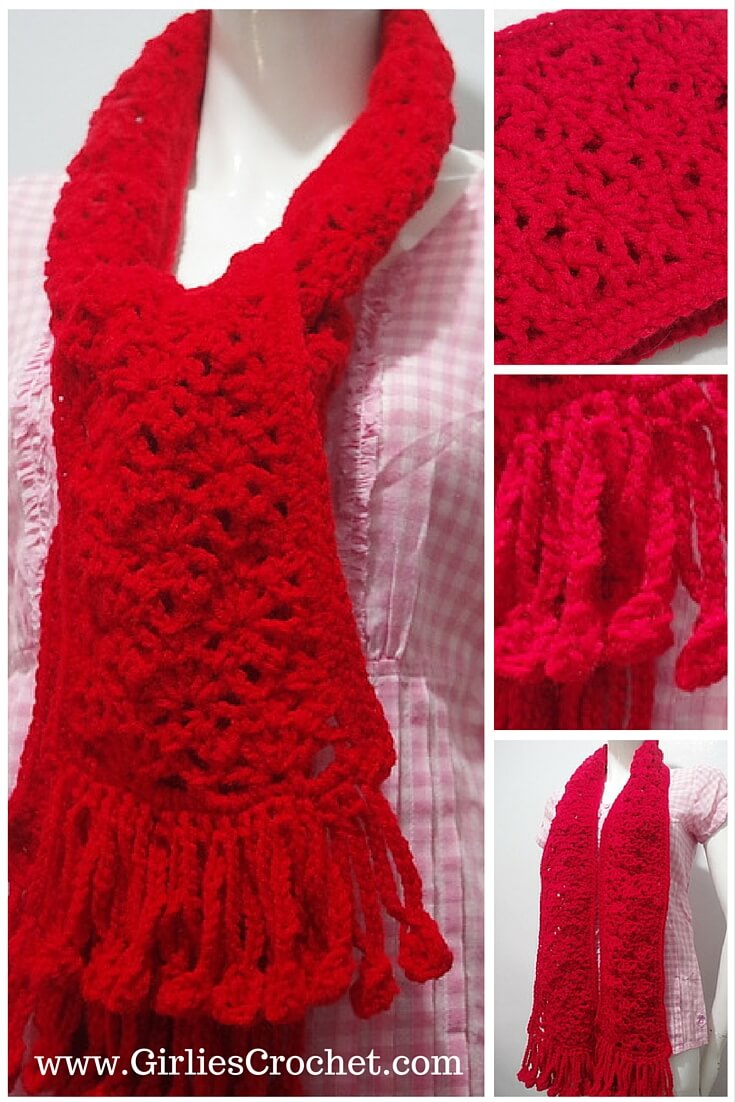 free crochet pattern, fan stitch, cluster stitch, photo tutorial, red heart super saver, violy scarf, red