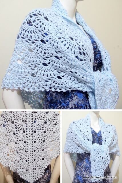 Free crochet pattern, wings of prayer shawl