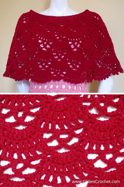 bea poncho, free crochet pattern, red, medium weight yarn, red heart super saver, easy