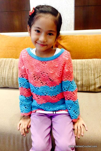 Bea Sweater, sweater for kids, free crochet pattern, easy, summer sweater, shell st,