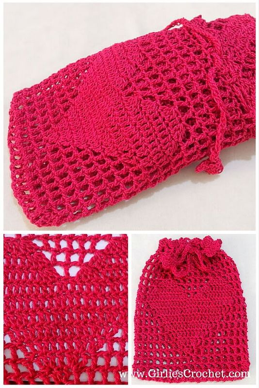 big heart pouch, free crochet pattern, thread, photo tutorial, lace, valentine gift