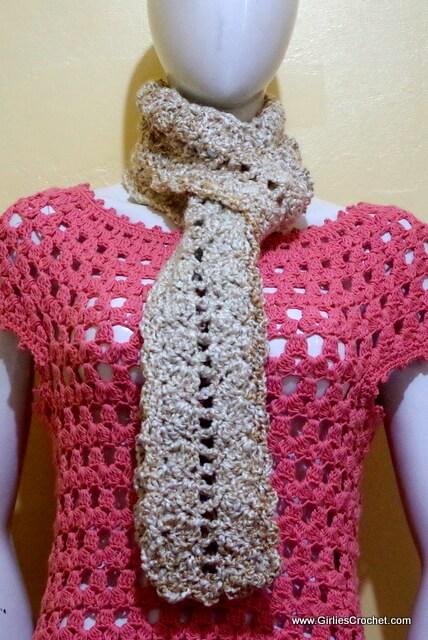 carla crochet scarf, free crochet pattern, easy, bulky yarn, lions brand