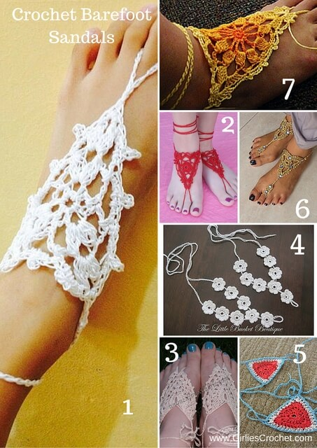 crochet barefoot sandals, free crochet pattern, thread, summer, beach, easy