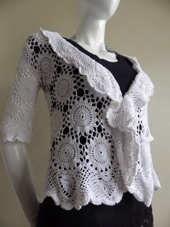 thread crochet shrug using circle joined motif