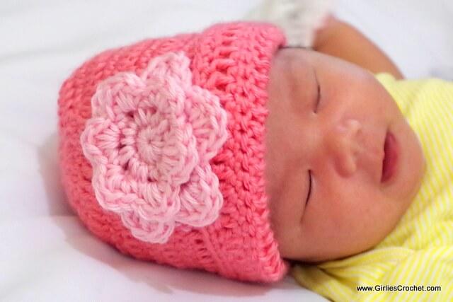 free crochet pattern, easy crochet baby beanie