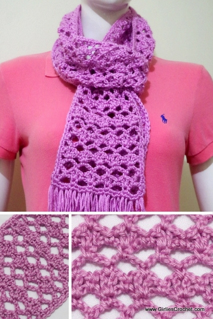 free crochet pattern: easy lacy scarf