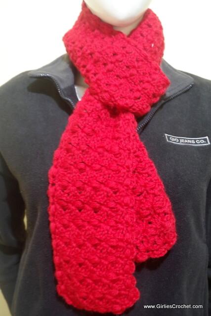 elizabeth crochet scarf, free crochet pattern, puff stitch